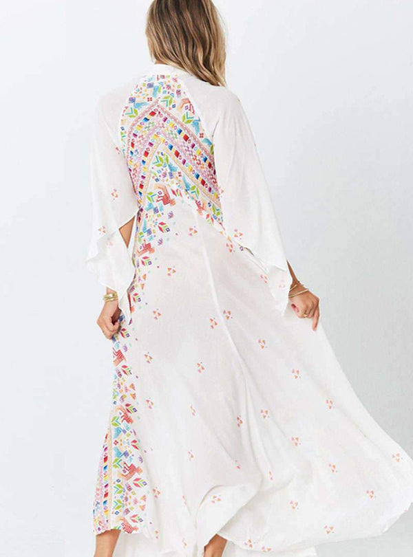 Bohemia Print V-Neck Slim Maxi Dress