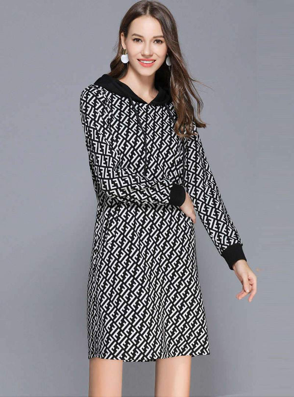 Black Printed Hooded Long Sleeves Mini Dress