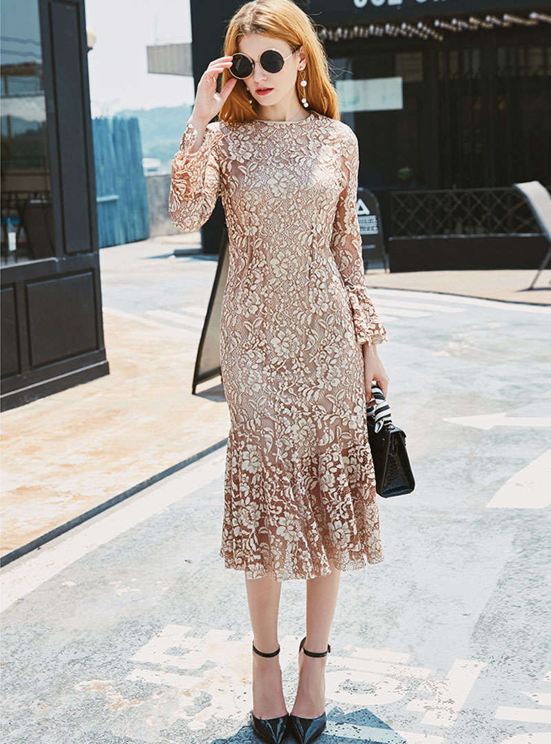 Solid Color Flare Sleeve Mermaid Midi Dress