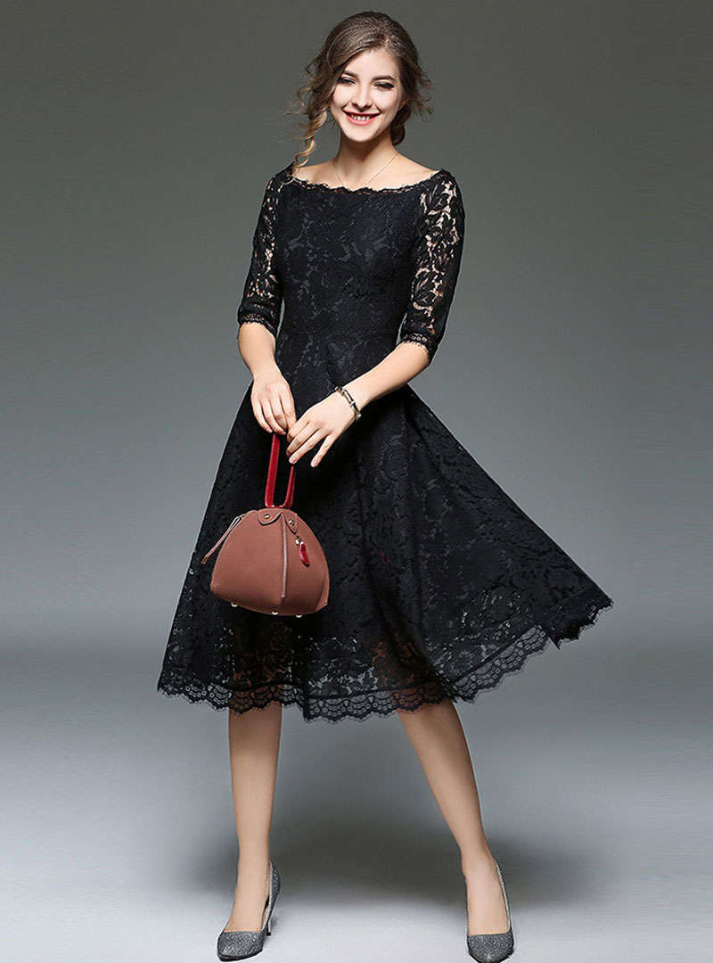 Solid Color Off Shoulder Lace Midi Dress
