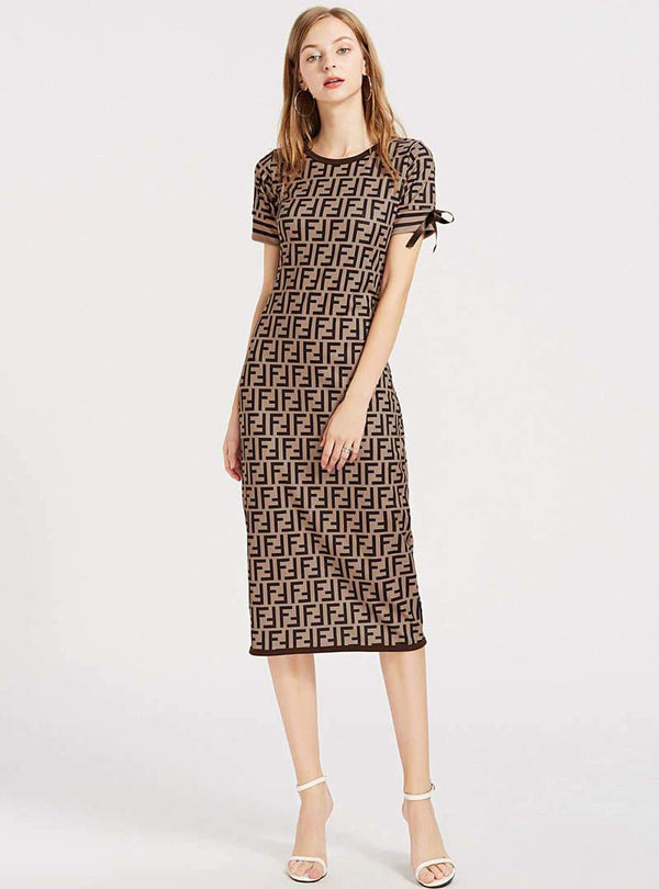 Brown Printed Short Sleeves Midi Dress