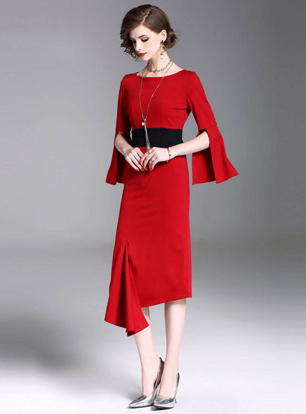 Red Cinched Waist Asymmetric Front Split Midi Dress