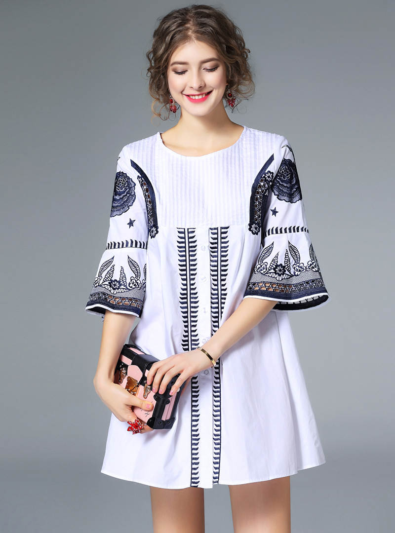 Cotton Stitched Embroidery Mini Dress