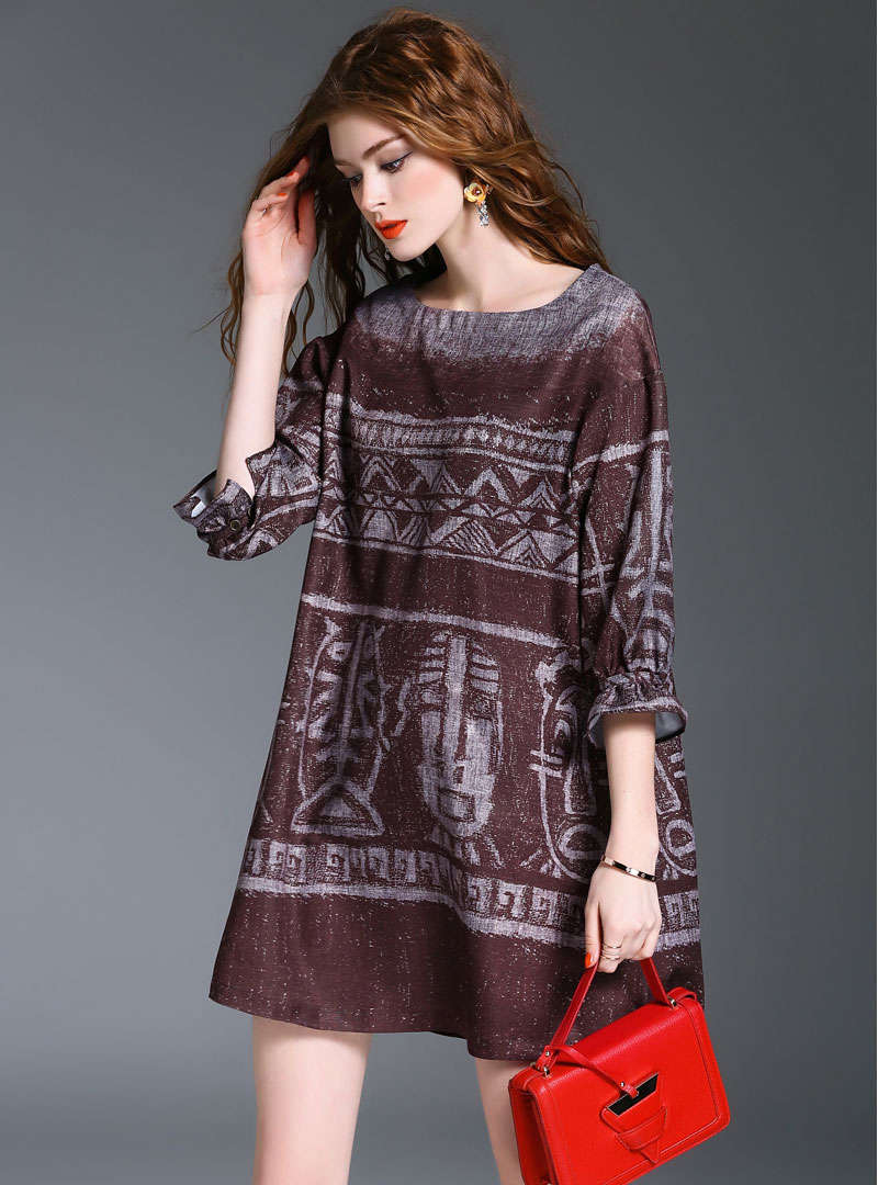 Portrait Printed Lantern Sleeve Mini Dress