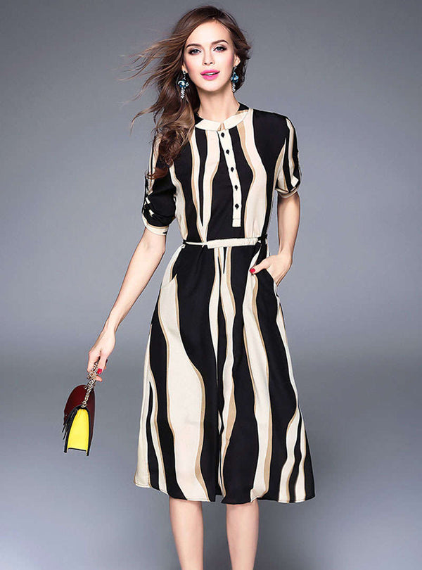Striped Chiffon Front Buttoned Midi Dress