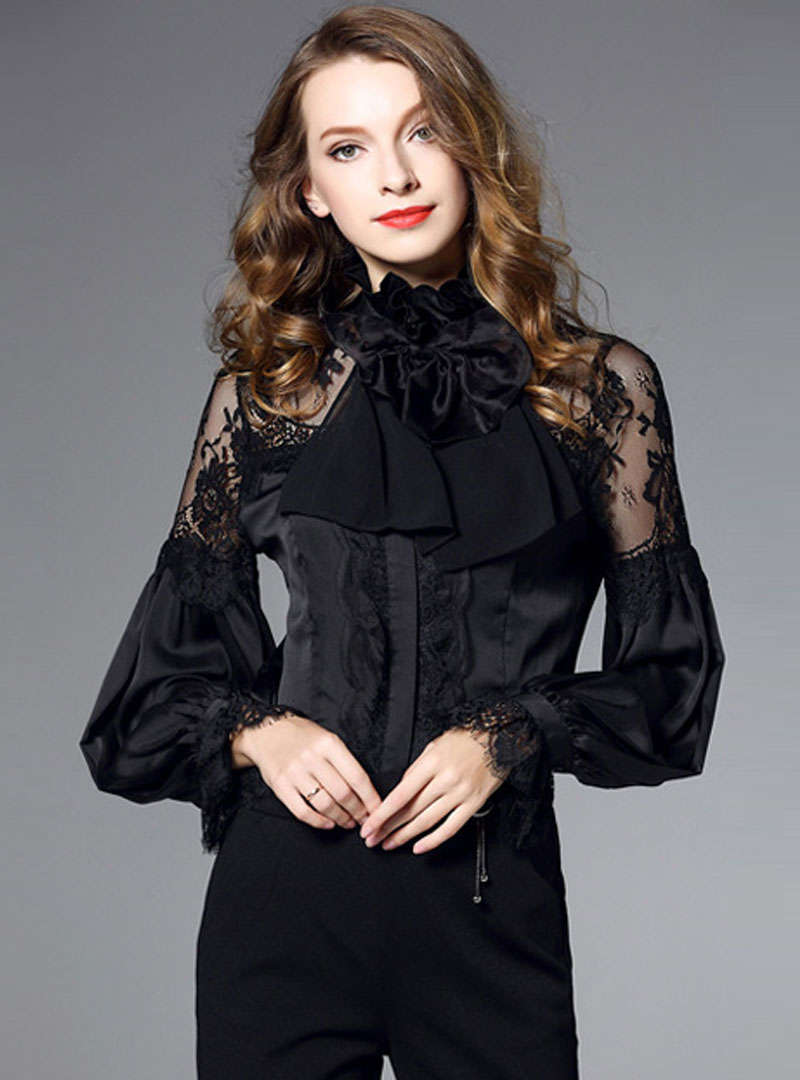 Lace Embroidered Lantern Sleeves Blouse