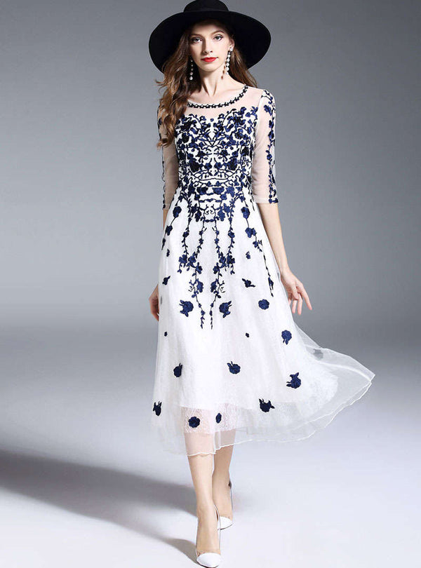 Floral Embroidered Beaded Mesh Midi Dress