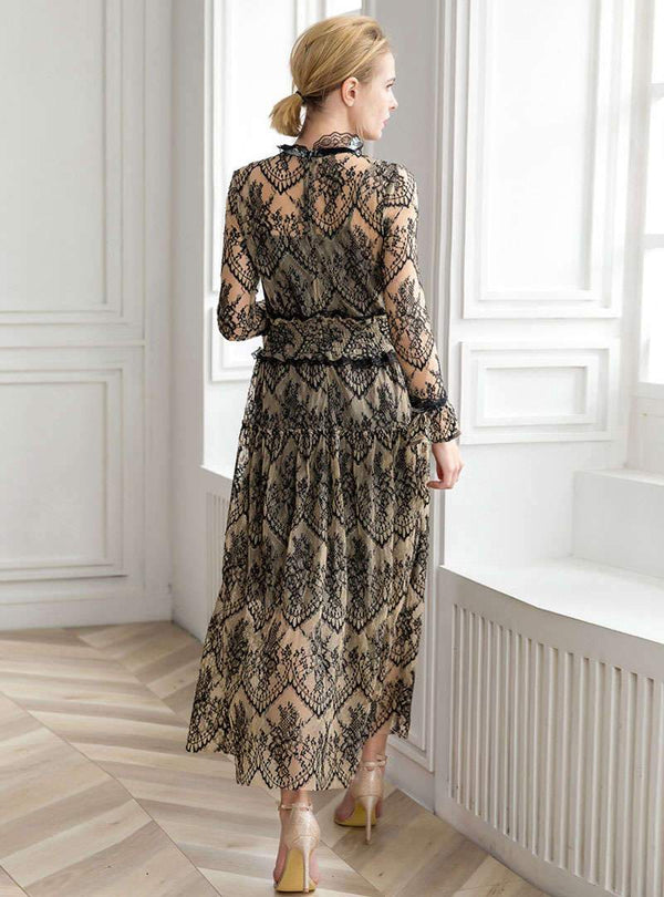 Mesh Splicing Slim Fitting Long Sleeve Maxi Dress