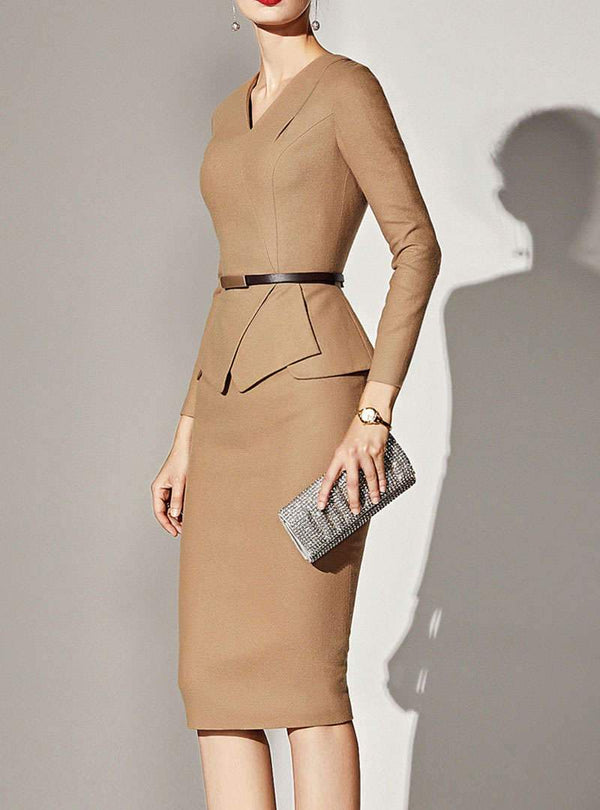 Khaki Notch Lapel Bodycon Elegant Midi Dress
