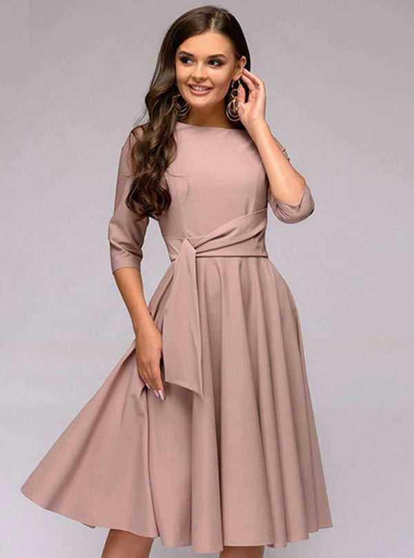 Pink Cinched Waist Ruffled Midi Dress