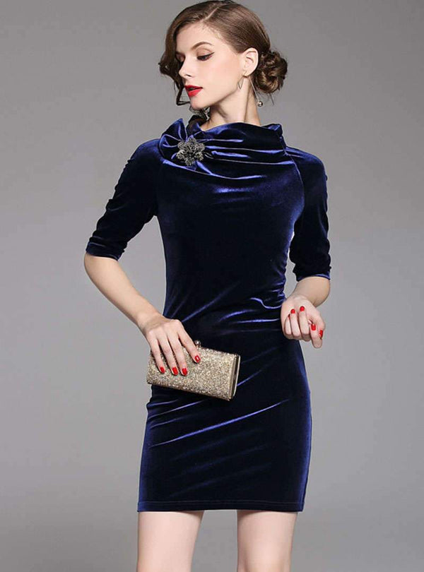 Solid Color Velvet Half Sleeve Cowl Neck Mini Dress