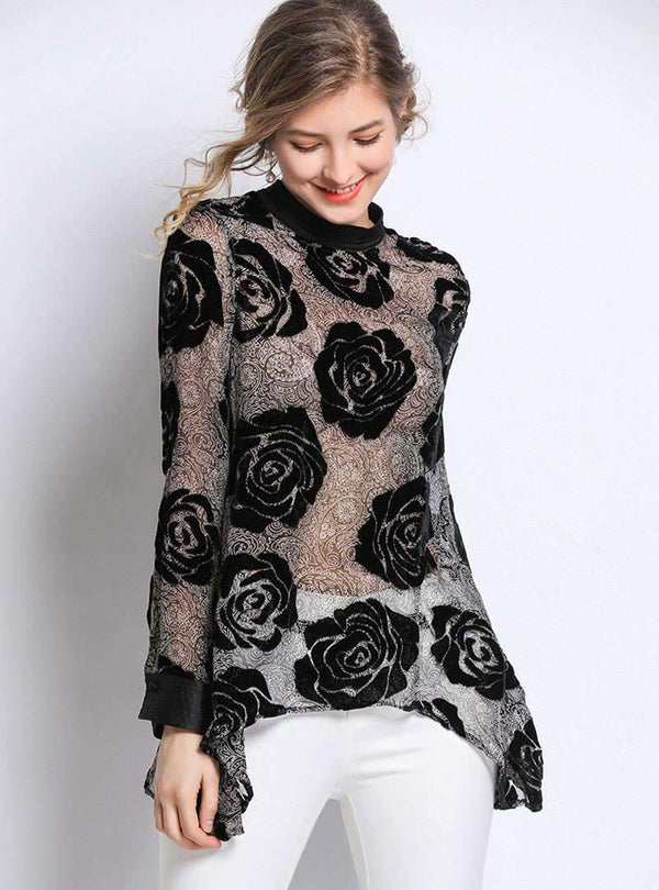 Stylish Rose Pattern Asymmetric Hem Blouse