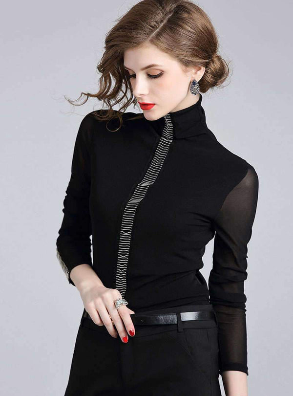 Mesh Turtle Neck Shift Paneled Beaded Blouse