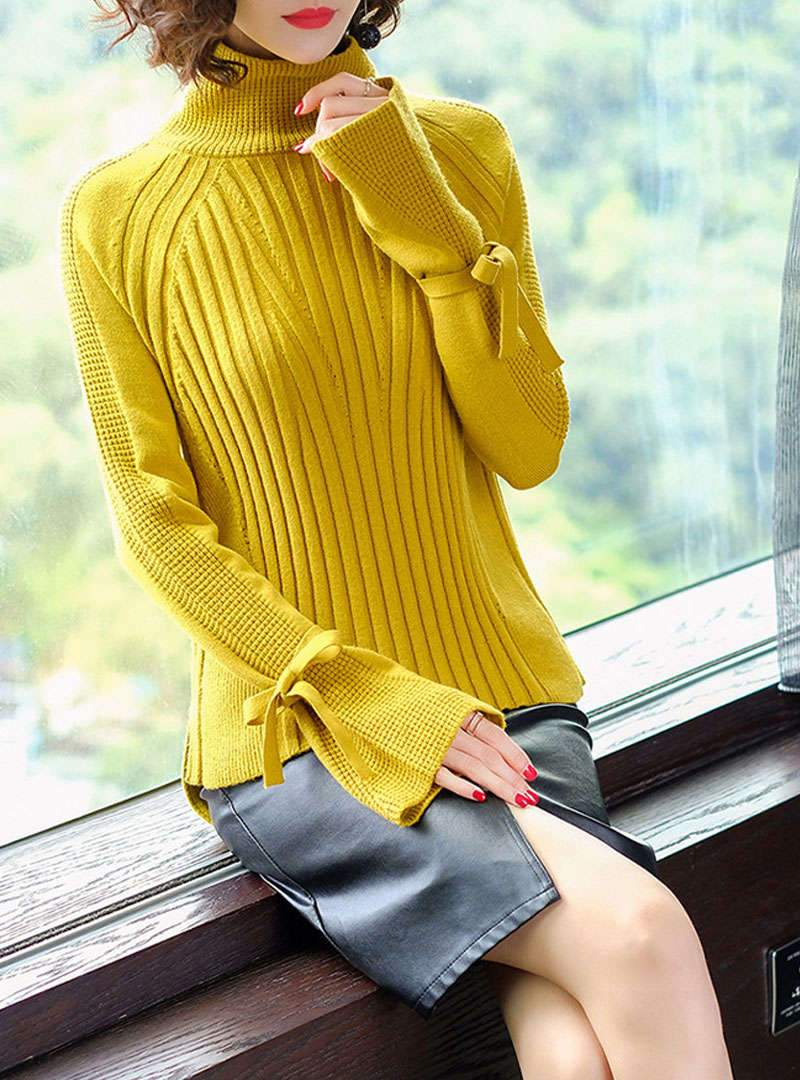 Pure Color Flare Sleeve Asymmetric Knitted Sweater