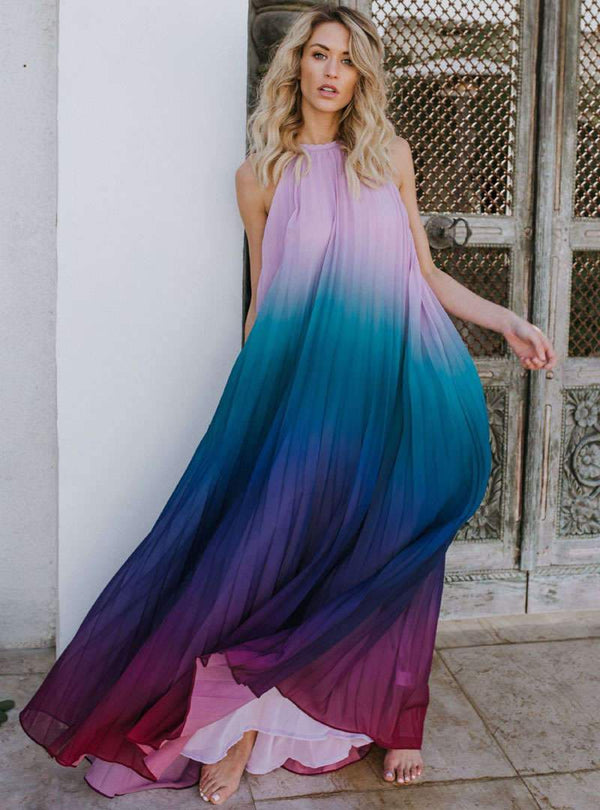 Halter Neck Gradient Chiffon Maxi Dress