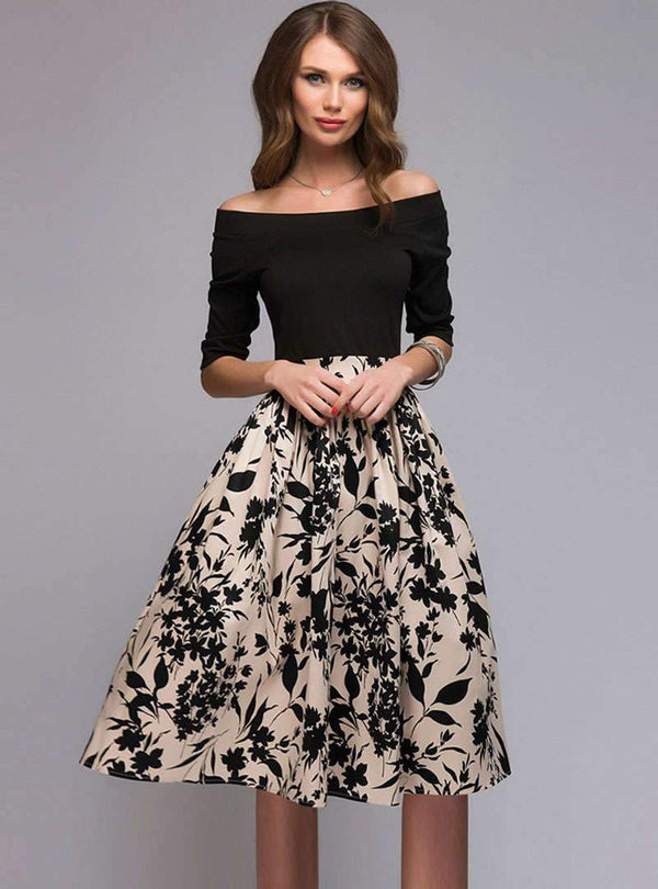 Off Shoulder Spliced Printed Midi Dress