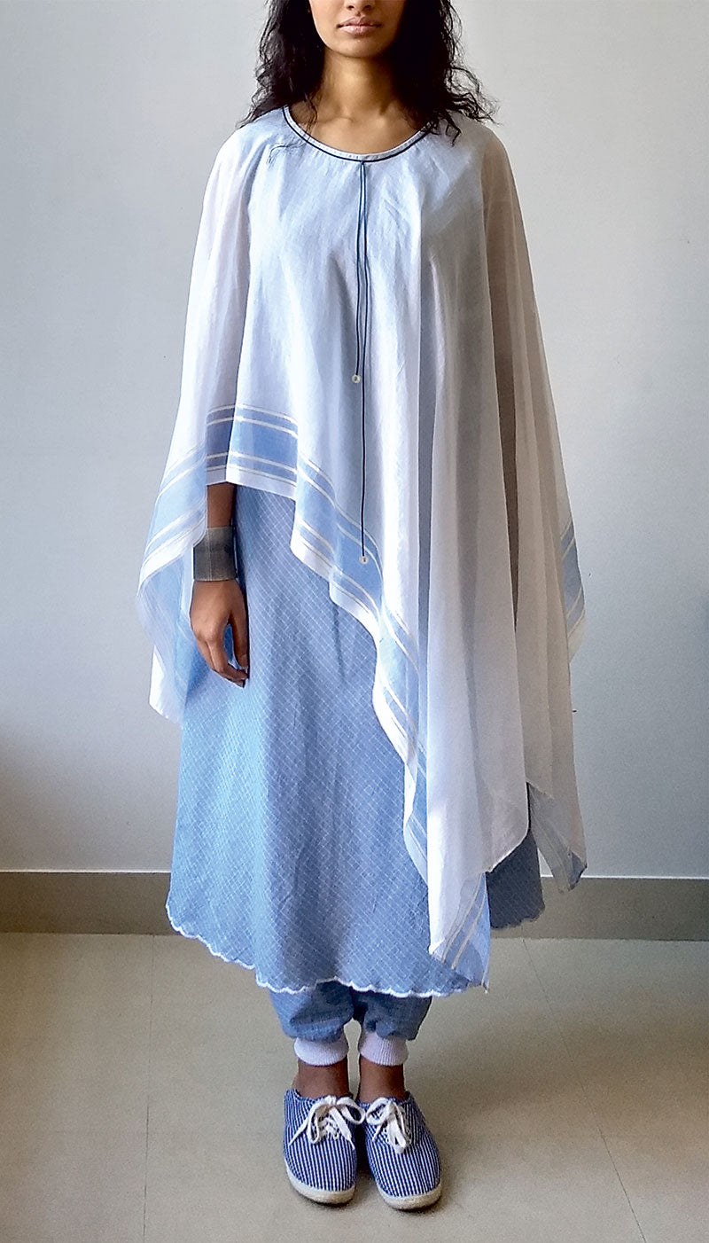 SHIFT WITH ATTACHED SCARF PONCHO