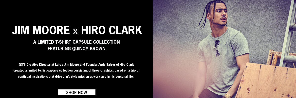 Shop the Jim Moore x Hiro Clark Limited T-Shirt Capsule Collection featuring Quincy Brown at Ron Herman