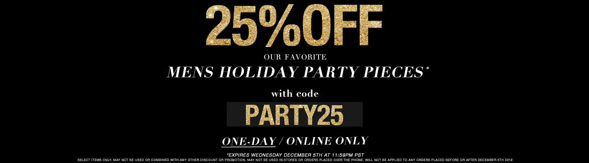 3rd Day of Gratitude: 25% OFF Our Favorite Mens Holiday Party Pieces with code: PARTY25