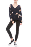 Heidi Leopard Skull V Neck Sweater