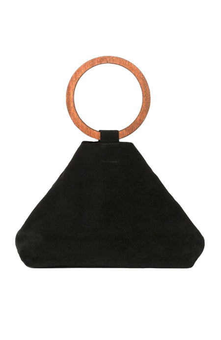 Suede Circle Handle Slouch Bag
