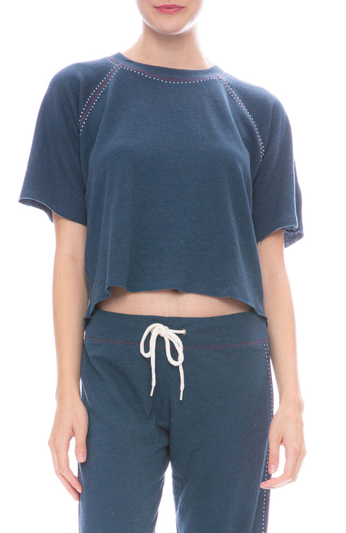 Monrow Contrast Stitch Sweatshirt in Vintage Blue