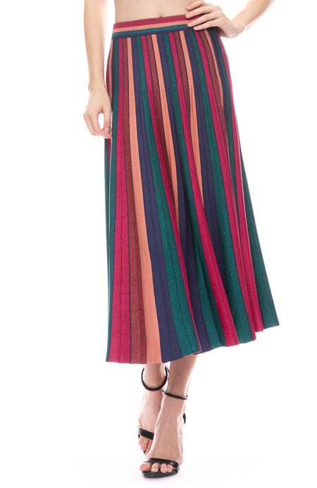 Metallic Stripe Fit and Flare Skirt