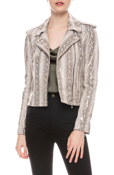 Snake Embossed Moto Jacket