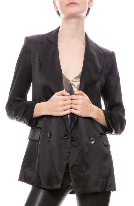 Taryn Double Breasted Silk Blazer