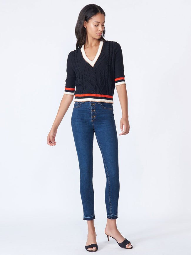 Aria V-Neck Metallic Trim Cropped Sweater