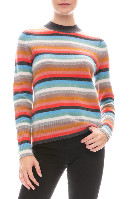 Slim Stripe Mock Neck Sweater
