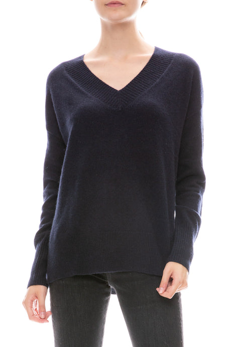 Wide Rib Slouchy V-Neck Sweater