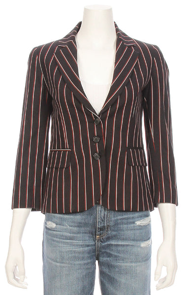 Ron Herman Exclusive Striped Schoolboy Blazer in Red / Black ON SALE at Ron Herman