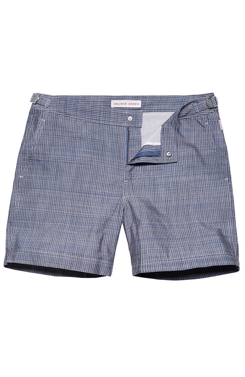 Bulldog Swim Shorts in Chambray Stitch