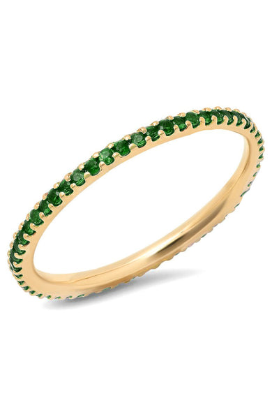 14K Yellow Gold Emerald Sapphire Eternity Band