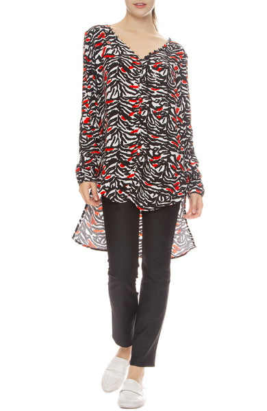 Adam Selman Off the Shoulder Tunic in Black, White & Red Tiger Print with Sandy Pants