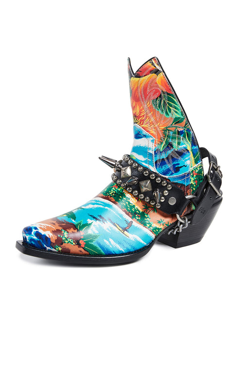 R13 Womens Hawaiian Print Half Ankle Cowboy Boot with Studded Harness