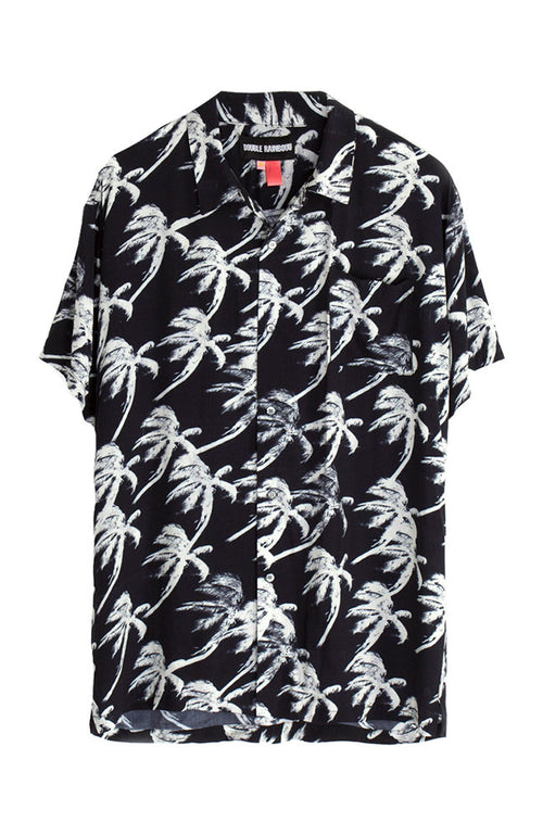 Short Sleeve Hawaiian Shirt in Blow Out Black