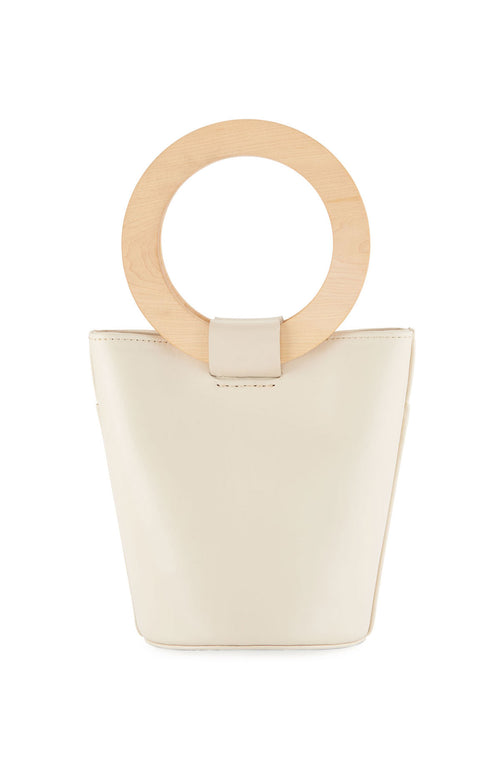 Modern Weaving Mini Wood Circle Handle Bucket Bag in Putty