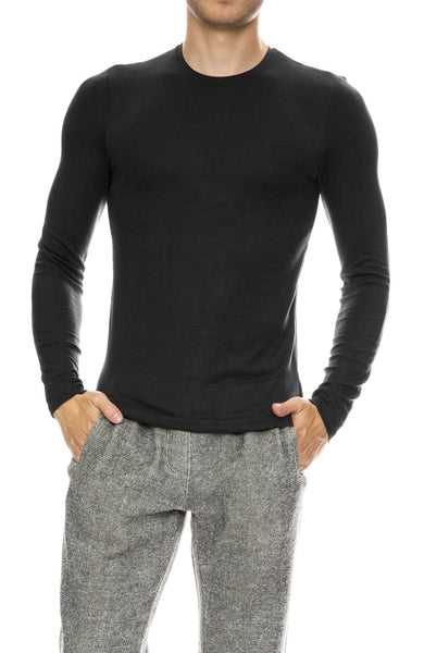 ATM Mens Modal Rib Long Sleeve Crew Neck Top in Black