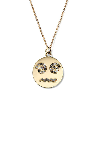 Medium Diamond Spiral Eyes Happy Face Necklace