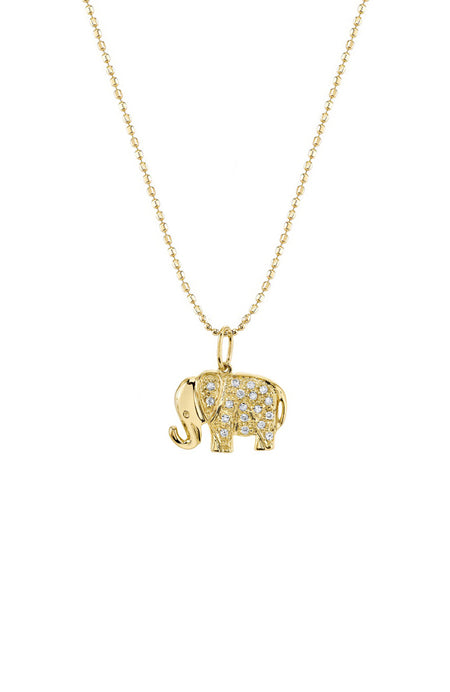14K Diamond Elephant Necklace