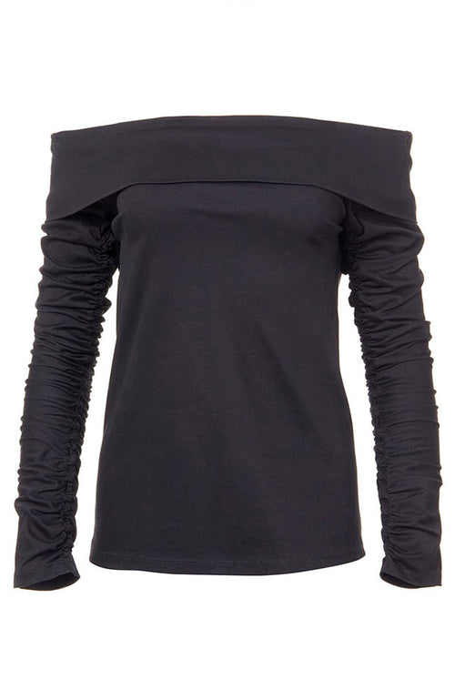 Mercerized Knit Off-Shoulder Ruched Sleeve Tee