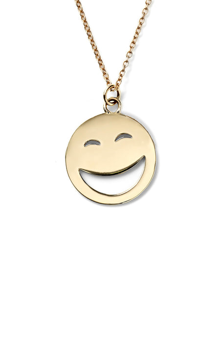 14K Gold Large ROTFL Face Necklace