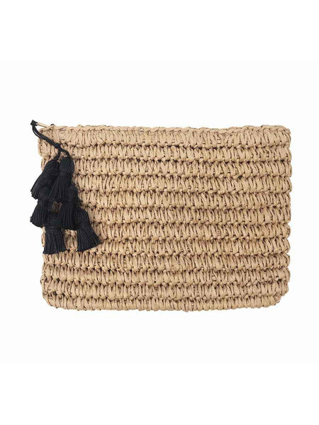 Gigi Black Tassel Straw Clutch