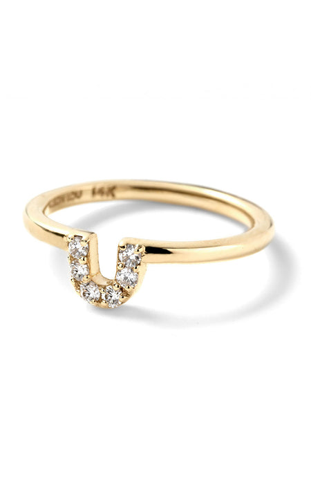 Pave Diamond U Ring