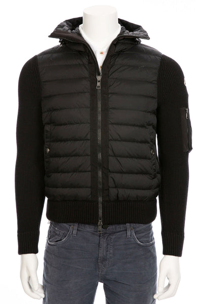 Zip Through Puffer Jacket with Knit Sleeves