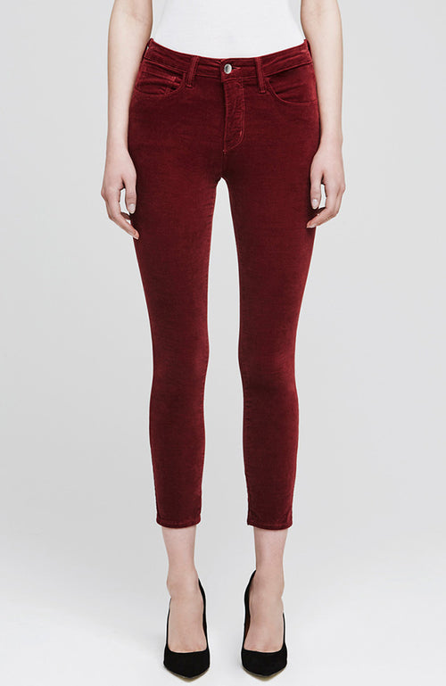 The Margot Velvet High Rise Ankle Skinny in Rhubarb