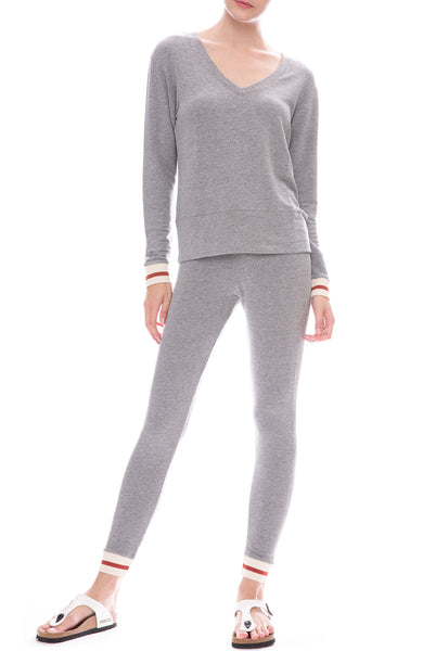 Monrow Supersoft Elastic Cuff Sweatshirt and Skinny Sweatpants in Dark Heather