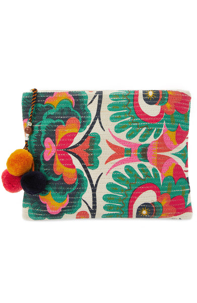 Star Mela Aminta Clutch with Pom Poms